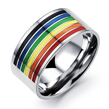 10mm Titanium Stainless Steel Rainbow Gay Lesbian White Gold Wedding Engagement Band LGBT Pride Ring