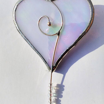 Pearl White Valentine Loveheart Brooch with Glass Beads, Symbol of Affection, Gift of romance, I love you My Heart is Yours Today and Always