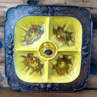 Vintage Treasure Craft Divided Tray in Yellow and Brown, divided serving dish, divided dishvintage