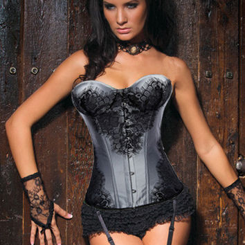 Grey Floral Lace Patch Sweetheart Neckline Corset