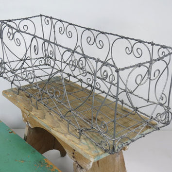 Galvanized Wire Rectangular Basket . Rustic Hearts . Table Centerpiece . Ornate Twisted Wire Design . Farmhouse Decor . Wedding Decor