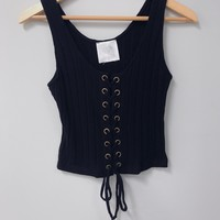 Laced Up Tank, Black