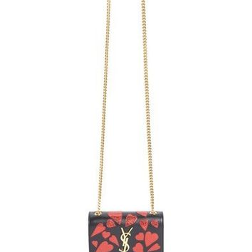 Small Kate - Heart Calfskin Leather Wallet on a Chain