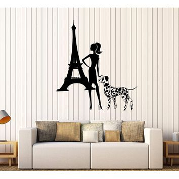 Vinyl Wall Decal Fashion Girl Lady Dog Eiffel Tower Paris Stickers Unique Gift (418ig)