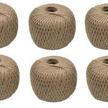 6 ROLLS 400' Jute Twine - Made From 100% Plant Fibers - Gardening, Crafts
