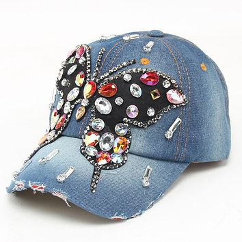 2017 new fashion Butterfly High Quality Hip-Hop branded Baseball Cap Full Diamond Flat Snapback Hat casquette caps gorras mujer