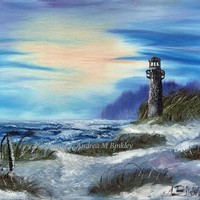 Seascape with Lighthouse, Ocean, Sunset, Fine Art Print, Lighthouse Painting, Seascape Painting, Seascape Art Print