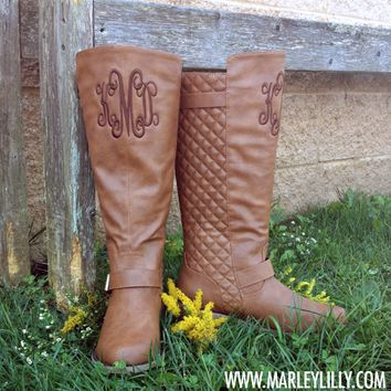 Monogrammed Cognac Buckle Riding Boot | Footwear | Marley Lilly
