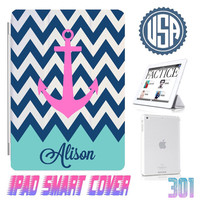Custom Name Anchor Chevron Mint IPad Air Smart Cover , IPad Mini Smart Cover  , IPad 4 Case , IPad 3 2 IPhone 5 Magnetic Sleep Wake Case 301