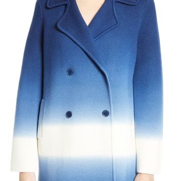 Tory Burch Livingston Ombré Merino Wool Knit Double Breasted Coat | Nordstrom