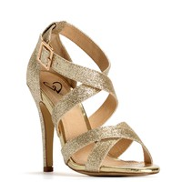 Sale-gold Cross Strap Glitter Heels