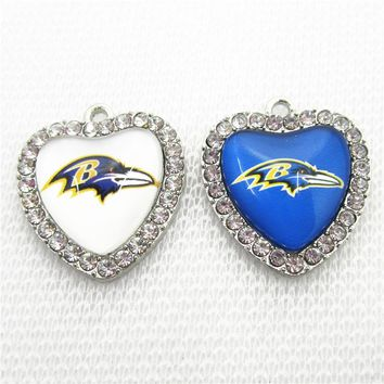 10pcs/lot Crystal Heart Baltimore Ravens Football Sports Dangle Charms DIY Bracelet Necklace Jewelry Hanging Floating Charm