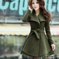 2015 New winter coat women Double Breasted Splice woollen coat solid color full sleeve slim overcoat casual women coat 4 colors = 1956232708