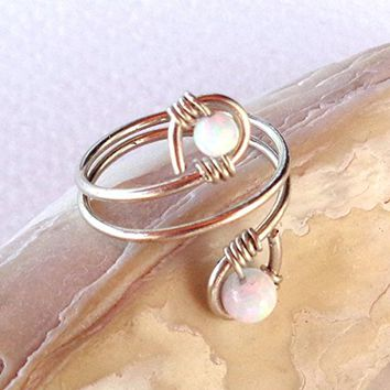 Fire Opal Wrapped Spiral Ring Alpaca non tarnish Silver, 925 Sterling Silver, 14K Gold Filled, 14K Rose Gold Filled ,14K Solid Gold
