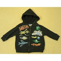 Lite Wear Boys 12-18m Toddler Aircraft Hoodie Black -- Used