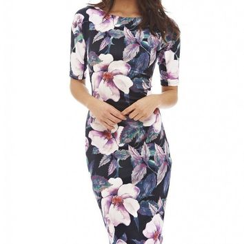 Women Dress Elegant Floral Print Work Business Casual Party Summer Sheath Vestidos 004-1