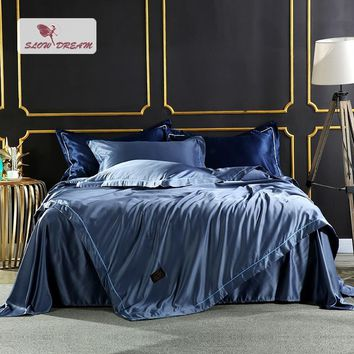 Cool SlowDream Luxury Bedding Set Comforter Silk Duvet Cover Satin Bedspread Silky Linen Double Bed Sheet Blue Queen King BedclothesAT_93_12