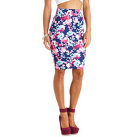 ABSTRACT FLORAL PRINT BODYCON MIDI SKIRT