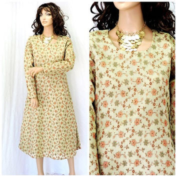 Kurta tunic dress / size M / gold lame Indian kurta / handmade boho ethnic Indie curta /  SunnyBohoVintage