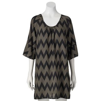 Almost Famous Chevron Cold-Shoulder Shift Dress - Juniors, Size:
