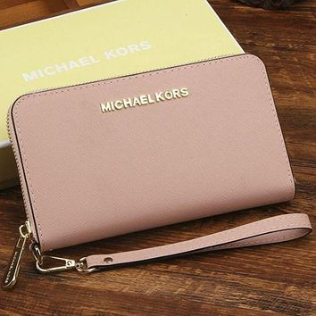 DCCK mk micheal kors women leather zipper wallet purse wrist bag pink