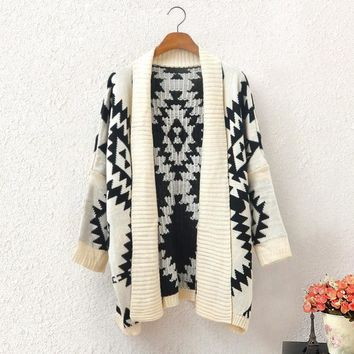 Stylish Ethnic Geometry Cardigan Sweater