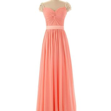 Simpledress Pageant Illusion Cap Sleeves Pleated Bust Long Coral Evening Gowns