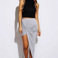 Gray Draped Hi-Low Skirt