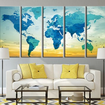 Copy of Typographyic World Map with Sundown Canvas Art Print, Country Name World Map Art Print No:012