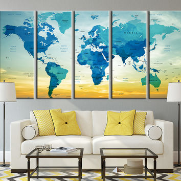 Typographyic World Map with Sundown Canvas Art Print, Country Name World Map Art Print No:012