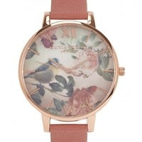 Olivia Burton Woodland Bird rose gold-plated watch
