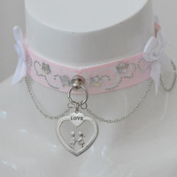 Love in pink - romantic fairy kei kawaii cute neko lolita ddlg kitten pet play collar with heart pendant - pastel pink