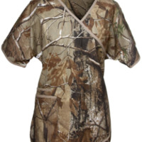 Camo Scrub Top For Women - Mock Wrap Real Tree Scrub Top