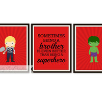Superhero Prints - Sometimes Being a Brother Quote - Boys Room - Brothers Print - Nursery Decor - Comic Book - Kids Room Wall Art - 8 x 10