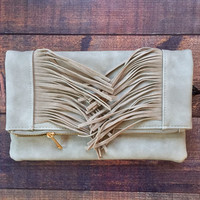 Fringe Clutch in Grey