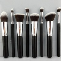 BESTOPE® Makeup Brush Set Cosmetics Foundation Blending Blush Eyeliner Face Powder Brush Makeup Brush Kit (8PCS Black+Sliver) (A-8 PCS Black Silver)