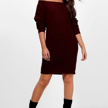 Jasmine Off The Shoulder Slouchy Jumper Dress | Boohoo