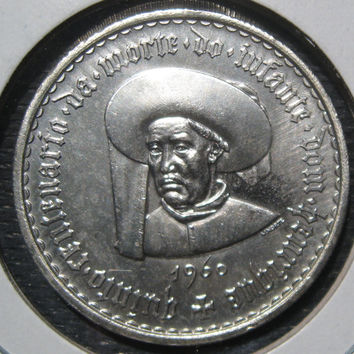 1960 Portugal 20 Escudos Vintage Silver 500th Year Death of Prince Henry The Navigator Commemorative Low Mintage Coin