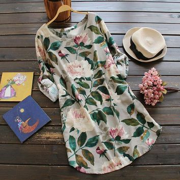 2017 women's fashion flower printed dress O-neck Chinese old style retro dresses long sleeve cotton and linen loose dress