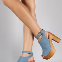 Denim Ankle Buckle Faux Wood Open Toe Heel | UrbanOG