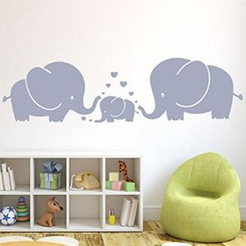 Three Cute Elephants parents and kid Family With Heart Wall Decals Baby Nursery Decoration Wall Art Stickers for Kids Room Decor