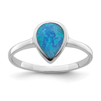 925 Sterling Silver Rhodium-plated Polished Teardrop Synthetic Opal Ring