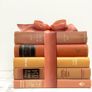 Pink and Coral Books, Peach and Coral Books, Baby Girl Nursery, Tangerine Books,Vintage Books, Peach and Pink, Fall Wedding , Centerpiece