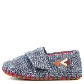ESBI7E Tiny Toms Crib Alpargata Navy Chambray Fox Flat