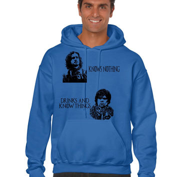 Jon Snow Knows nothing Tyrion lannister drinks and know things men hooded sweatshirt