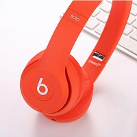 Beats Solo 3 Wireless Magic Sound Bluetooth Wireless Hands Headset MP3 Music Headphone with Microphone Line-in Socket TF Card Slot F Red