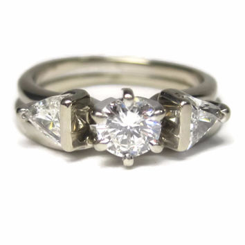 Vintage 1 Carat Diamond Wedding Set, 18K White Gold Engagement Bridal Set Size 4
