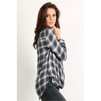 Twist Front Plaid Top