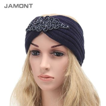 [NEW] Ladies Jewel Headband Hair Accessories Winter Warm Floral Stretch Turban Headwear Soft Knit Crochet Headwrap Q3317