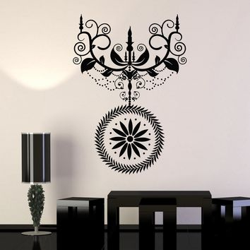 Vinyl Wall Decal Candle Chandelier Lighting Room Vintage Decoration Stickers Unique Gift (070ig)